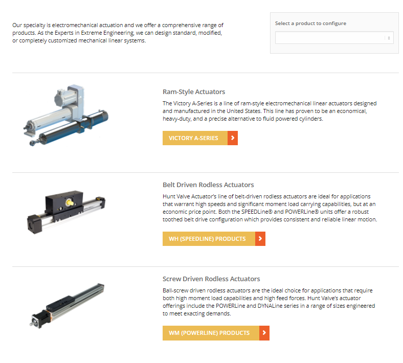 Choose the type of electromechanical actuator you want.